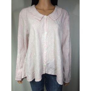 FLAX Pink Striped Linen Button Down Swing Top Sz L